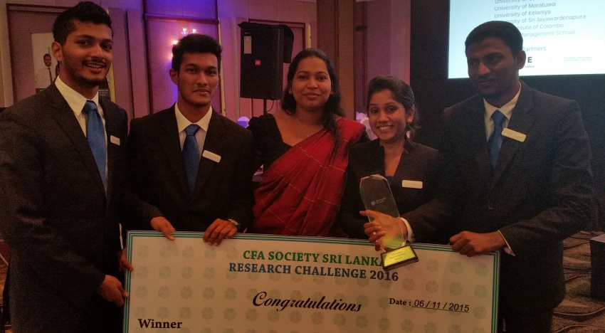 University of Colombo emerged Champions at CFA Sri Lanka Research Challenge 2015
