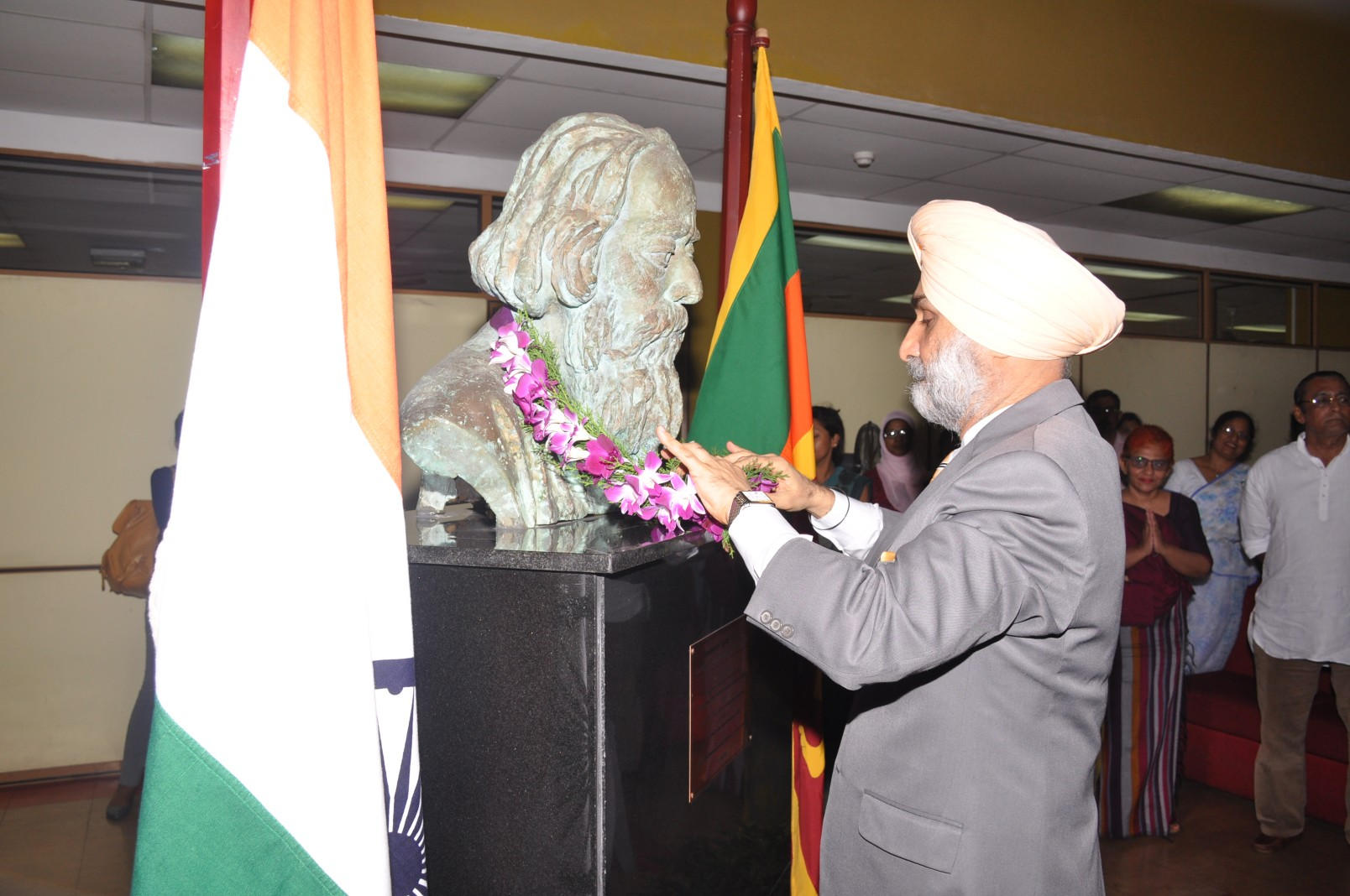 Garlanding of the Bust of Rabindranath Tagore