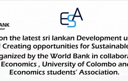 Public dialogue on the latest Sri Lankan Development update Managing Risk and creating opportunities for sustainable Growth