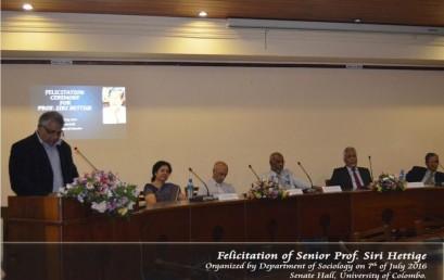 Felicitation Ceremony for Senior Professor S. T. Hettige