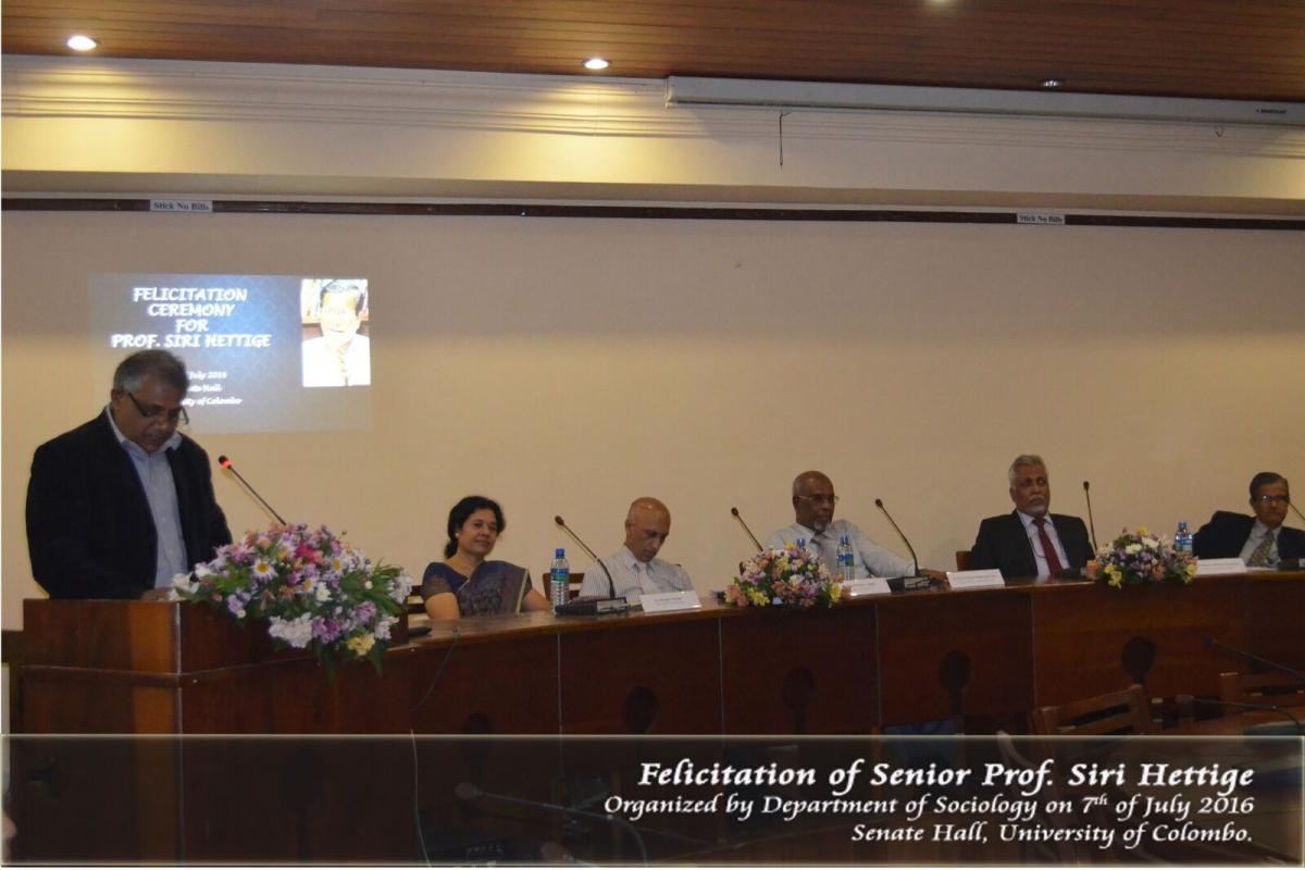 Felicitation Ceremony for Senior Professor S. T. Hettige