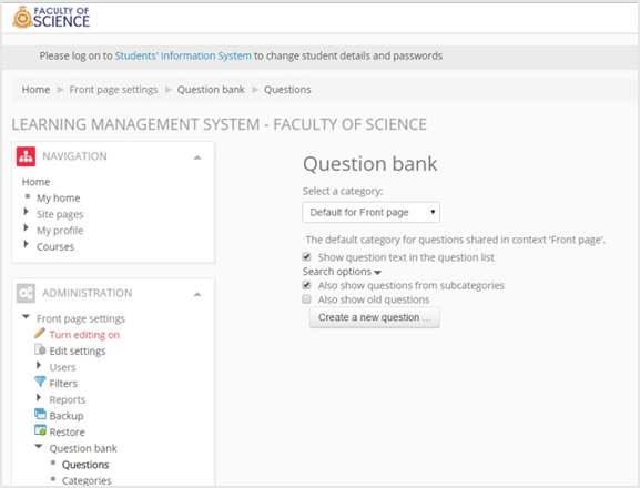 Interface of the designed question bank