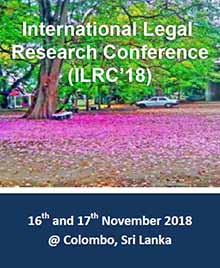 International Legal Research Conference (ILRC'18) – Call for Papers