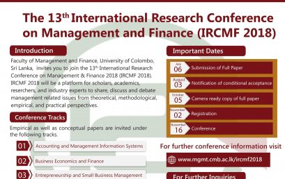The 13th International Research Conference on Management and Finance (IRCMF 2018)