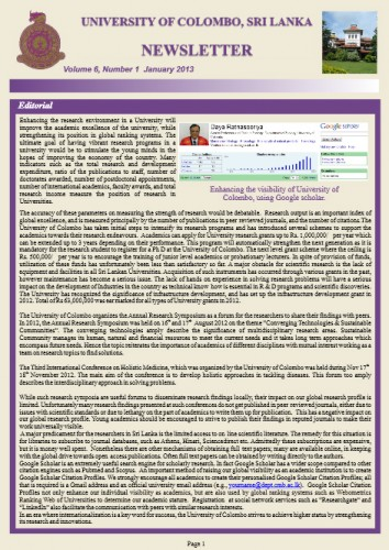 Enhancing the visibility of University of Colombo, using Google scholar.