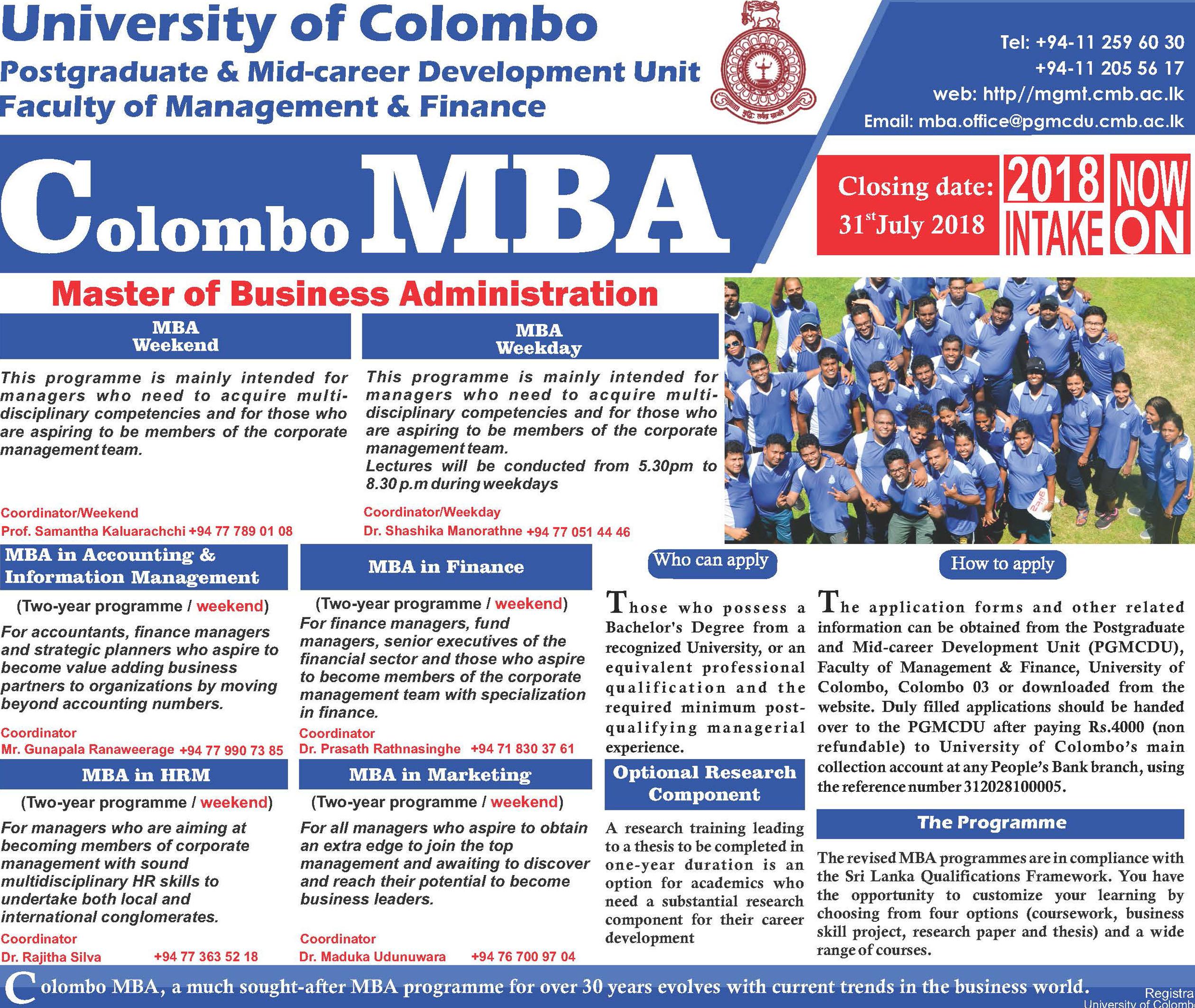 Master Of Business Administration University Of Colombo Sri Lanka