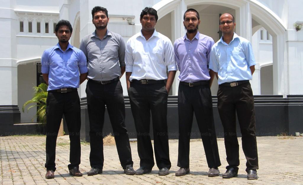 From left : Dinidu Perera, Suneth Jayawardhana, Manushan Thenabadu, Abdallah Reza, Hasitha Eranda