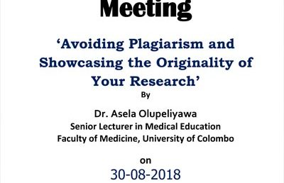'Avoiding Plagiarism and Showcasing the Originality of Your Research' – Monthly Research Meeting