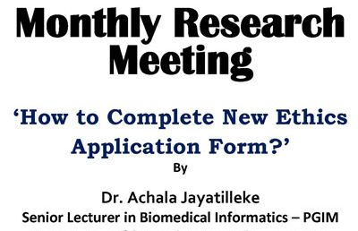 Monthly Research Meeting at PGIM