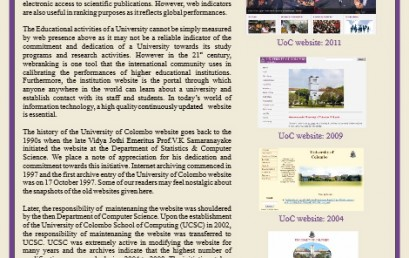 The history of the University of Colombo website