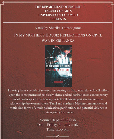 """Talk on """"In My Mother's House: Reflections on Civil War in Sri Lanka"""""""