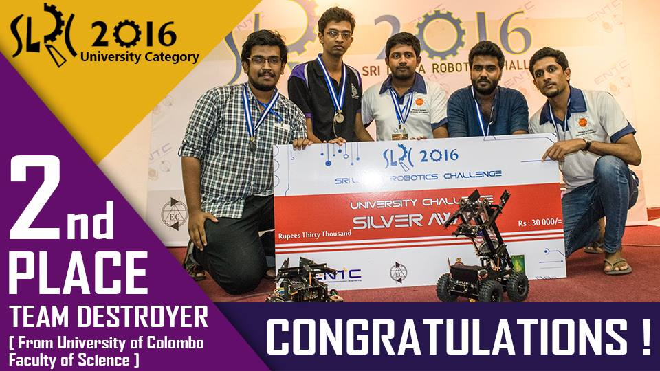 "Team ""DESTROYER"" wins silver award at Sri Lanka Robotics Competition"