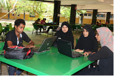 Students enjoy the wi-fi access outside class rooms