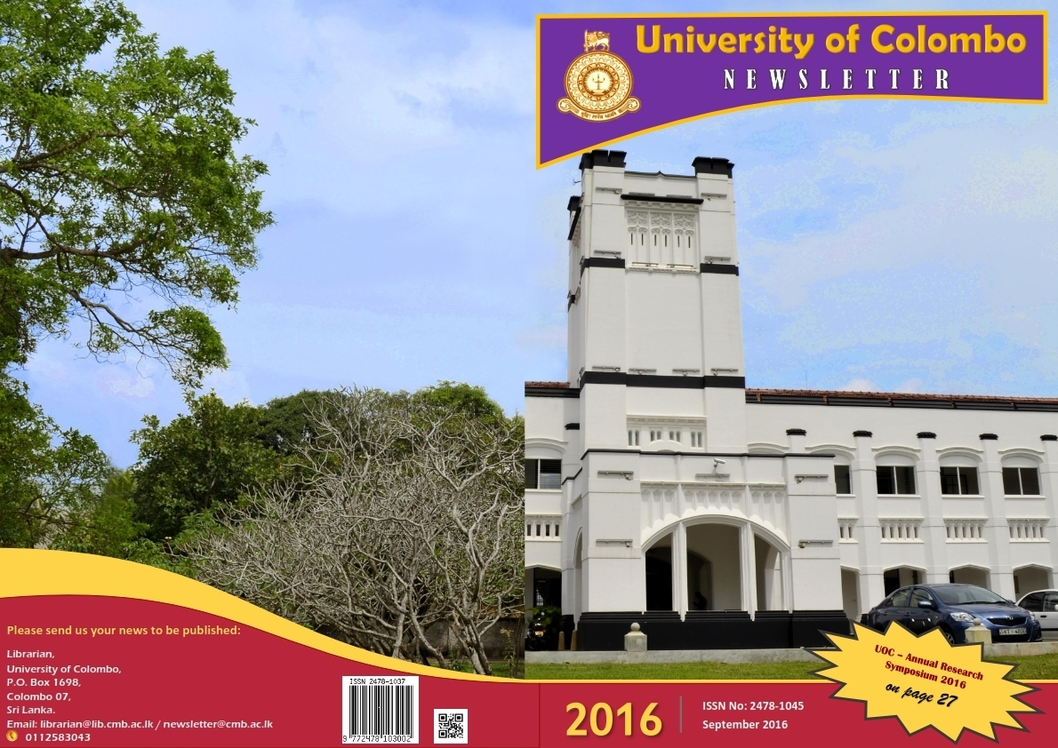Newsletter – September 2016, The Annual Research Symposium 2016 of the UoC