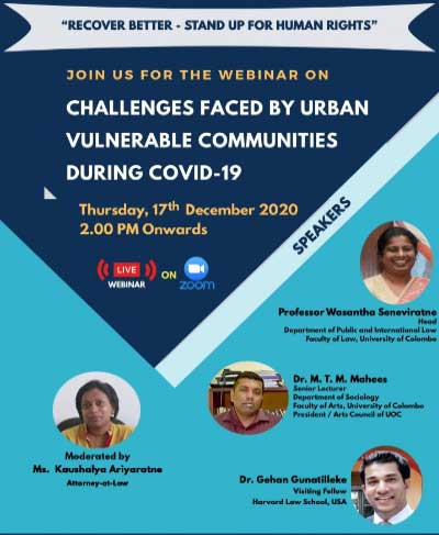 """Webinar on """"Challenges Faced by Urban Vulnerable Communities During COVID-19"""