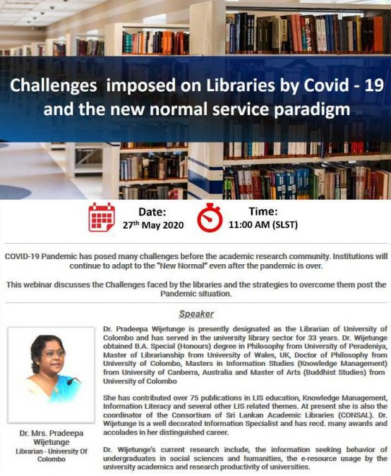 Challenges imposed on Libraries by COVID-19 and the new normal service paradigm