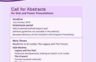 Colombo Medical Congress 2020: Call for Abstracts