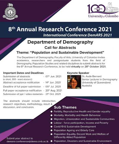 8th Annual Research Conference – (DemARS 2021 ), Department of Demography