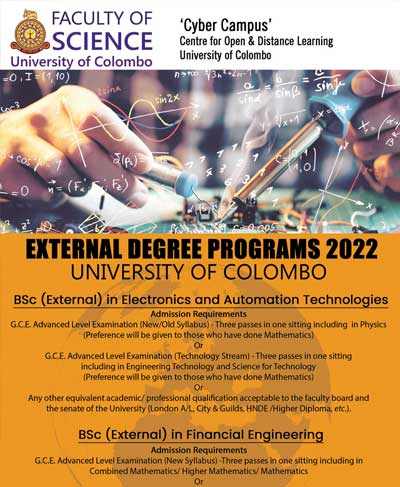 New Admission 2022 : BSc (External) in Financial Engineering and BSc (External) in Electronics & Automation Technologies