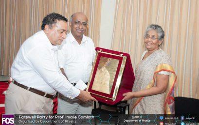 Farewell of Professor K A I L Gamalath
