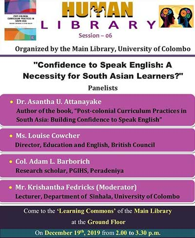 """Human Library 2019 """"Confidence to Speak English: A Necessity for South Asian Learners?"""""""