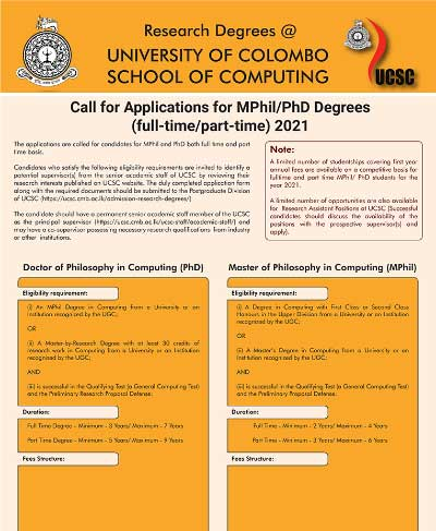 Call for Applications – MPhil/PhD in Computing – 2021