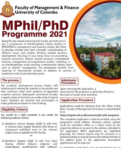 MPhil/PhD Programme 2021 – Faculty of Management & Finance