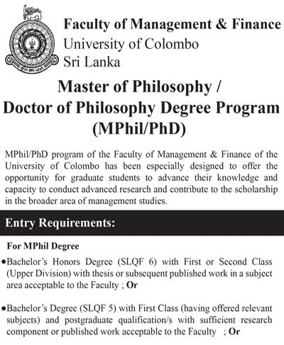 Master of Philosophy/ Doctor of Philosophy Degree Program (MPhil/PhD) 2019