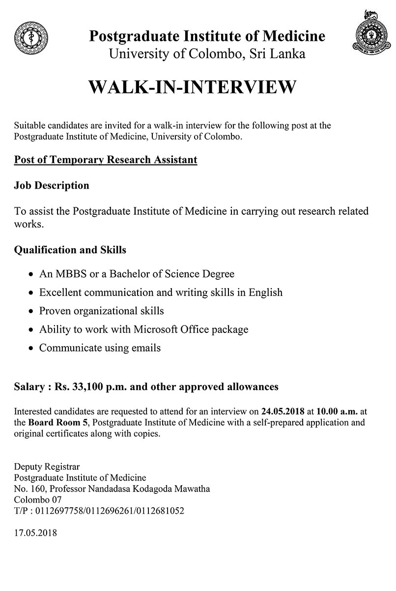 Research Istant Job Description | Post Of Temporary Research Assistant University Of Colombo Sri Lanka