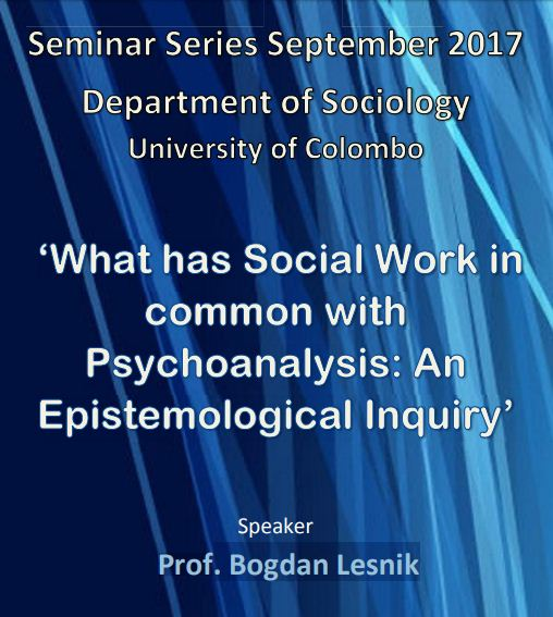 """Seminar on """"What has Social Work in common with Psychoanalysis: An Epistemological Inquiry"""" – 14th Sept"""