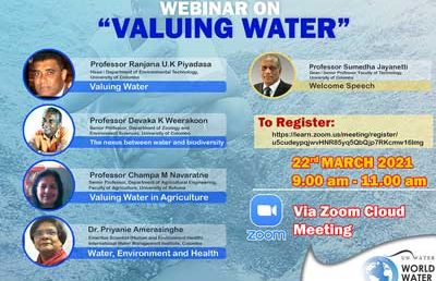 "World Water Day 2021 – Webinar on ""Valuing Water"""