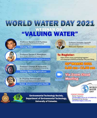 """World Water Day 2021 – Webinar on """"Valuing Water"""""""